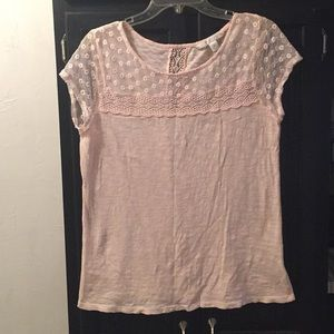 Pale Pink lace inlay light sweater size M LC